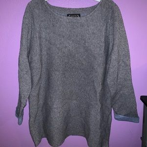 Gray sweater with blue cuffed detail